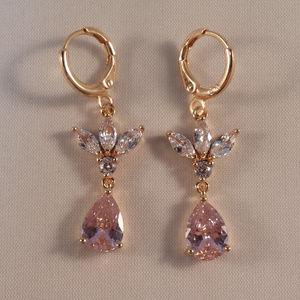 18K Y Gold Flower Pink Whit Topaz Zircon Earrings